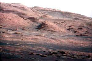 The base of Mars' Mount Sharp is pictured in this NASA handout photo taken by the Curiosity rover.